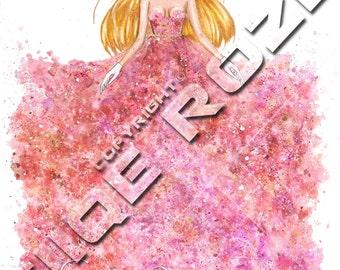 Fashion illustration, digital print, download, hand drawn, fashion art, EL