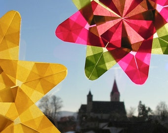 Window flowers, set of two flowers, window star, waldorf star, paper art, type MIDA