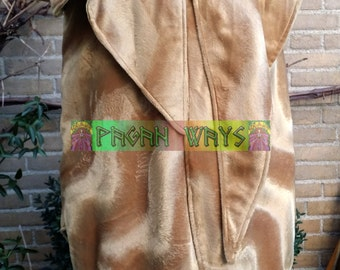 Suede jacket - yellow brown caramel faux suede jacket - pagan bohemian indie folk fantasy jacket festival pimp fantasy clothing fur jacket