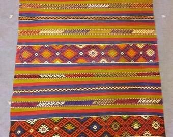 Vintage handmade wool Turkish kilim, 2x4 ft