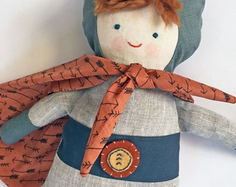 """17"""" Superhero doll, handmade with all natural materials. Waldorf inspired dolls for creative play."""