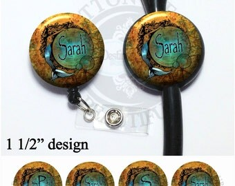 Old World Map Mermaid Retractable Badge Reel Id Holder or Stethoscope Id Tag, Personalized Monogram, Occupation, Name, Initial (A132)