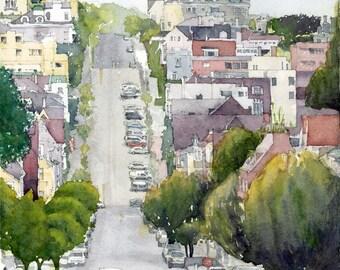 Watercolor of Noe Valley, San Francisco