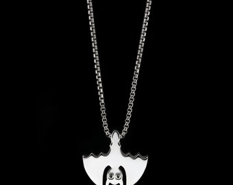 Bat Slider Necklace Sterling Silver Halloween Jewelry Bats