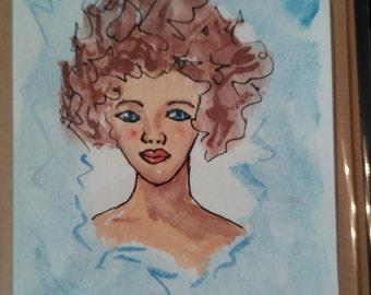 Original watercolor art card