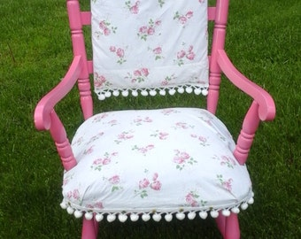 Shabby Chic Chair, Cottage Chic Chair, Vintage Chair, Upcycled Furniture, Pink Chair, cottage decor, Albany ny, Hudson Valley