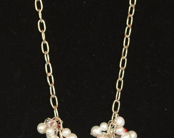 Pink & White Pearl Cluster Necklace