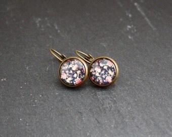 """Cabochon earrings """"Flower box"""" 12 mm"""