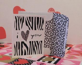 I love you Valentine's day card, Zebra strip, glitter, greeting card, blank inside