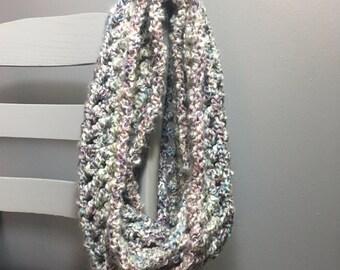 Crochet Infinity Scarf, Blue and Purple