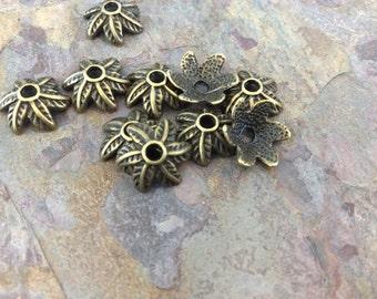 10 Brass Bead Caps 11mm