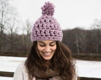 Chunky Crochet Hat with Pom Pom - Lavender