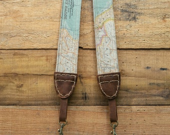 Map Camera Strap for DSLR & Mirrorless Camera - Free Shipping - Vintage Style Old World Map - Quick Release - Hand Made Artisinal Dble Sided