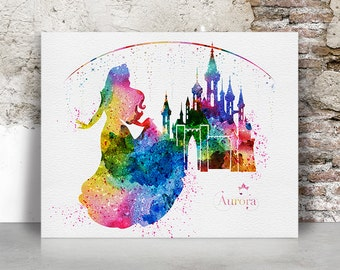 Aurora print, Sleeping Beauty, Disney print, Princess, Watercolor, Poster, Aurora castle, Colorful, Wall art, Kids decor, FamouStars