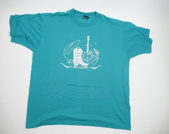 80s 90s Vintages Cowboy Western Tshirt - Teal w Silver Graphic - Screen Stars Best - XXL