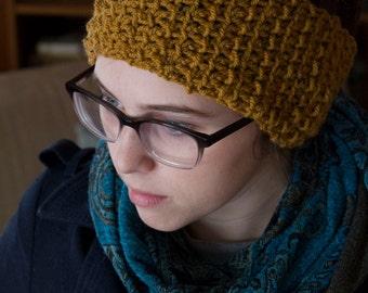Crochet Winter Headband - Mustard Yellow Headband