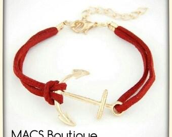 Nautical Leather Band Bracelet 6-8inch-Red Sueded Strap-Gold Anchor Bracelet-Beach Bracelet-Ships Ahoy-Summertime Bracelet-Graduation Gift
