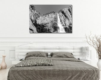 Large Canvas or Print, Landscape photography, Yosemite Valley, Yosemite Waterfall, Black & White, Mountain, Nature, Forest, Wall art Poster