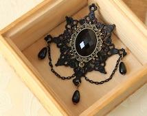 Black brooch, pearl brooch, vintage brooch, grandmonther gift, brooch, brooch pin, vintage jewelry, formal brooch, brooch accessories, OB-94