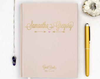 Wedding Guest Book Personalized Gold Guest Book Gold Guestbook Custom Guestbook pink gold Guest book Script faux Gold Foil Guest Book blush