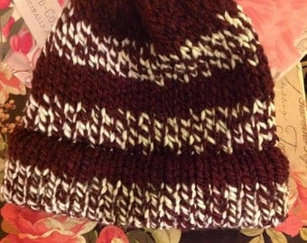 Burgundy and white winter hat