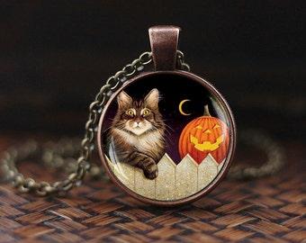 Halloween necklace, Halloween cat pendant, Halloween Pumpkin necklace, Trick or Treat Halloween Pendant, Cat necklace, Halloween gift