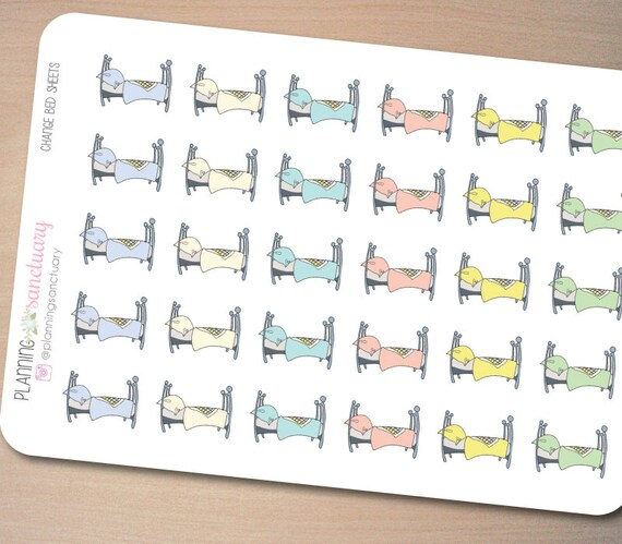 Change Bed Sheets Sleep In Planner Stickers Perfect For