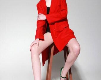 Vintage 90's Woolen Red Casual Jacket