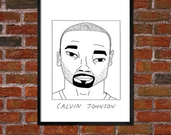 Badly Drawn Calvin Johnson - Detroit Lions Poster