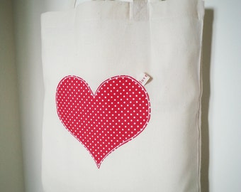 Heart Applique Cotton Bag.
