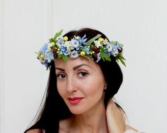 Wildflowers floral crown Blue yellow flower crown Flower hair wreath Bridesmaid flower crown Floral crown  Wedding flower crown Flower halo