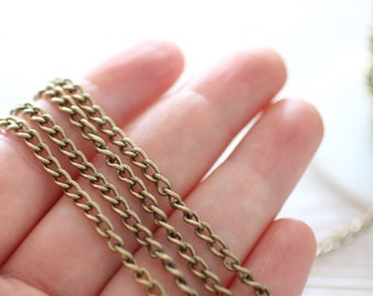 3.5x5mm brass curb chain, antique gold brass chain, gold curb chain, brass chain, jewelry chain, necklace chain, chain, antique gold