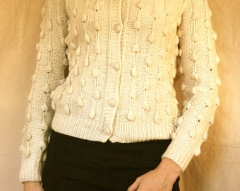 Hand Knit White Wool Polka Dot Sweater