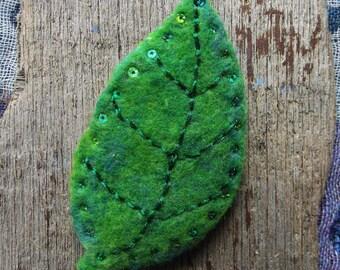 Leaf Brooch - Handmade, Needle Felted, Nature