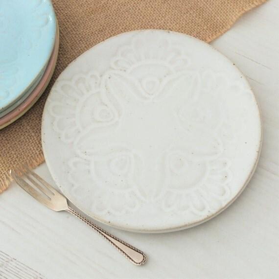 Handmade Ceramic Platter In Coastal Kitchen: Handmade Small Ceramic Side Plate Vintage Lace White Plate