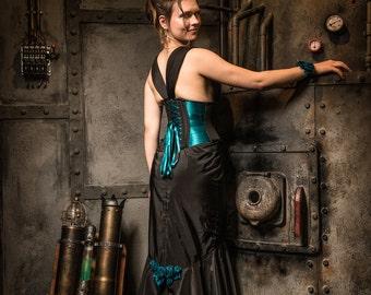 Evening dress with a waist cincher turquoise satin ribbons, and black taffeta Mermaid skirt