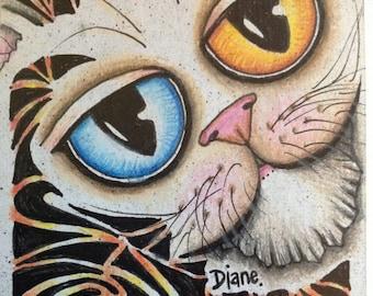 Original art ATC ACEO Odd-Eyed Cat Doodle Drawing