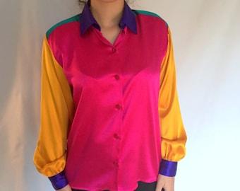 1980s Vintage Color Block Silk Blouse
