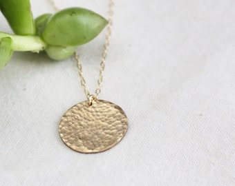 Hammered Layering Necklace - Hammered Gold Circle Necklace - Gold Disc Necklace - Circle Tag Necklace- Gift for Her - Mom Necklace - Mothers