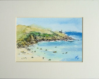 Watercolour Painting - Porthcurnick Beach, Cornwall