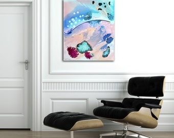 Abstract art print, stretched canvas print from original painting, modern, bright, turquoise, pink, blue, wall art, coastal, colourful