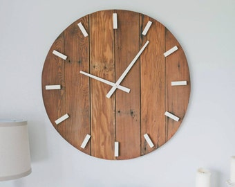 rustic wall clock oversized wall clock large wall clock 30 inch wooden clock