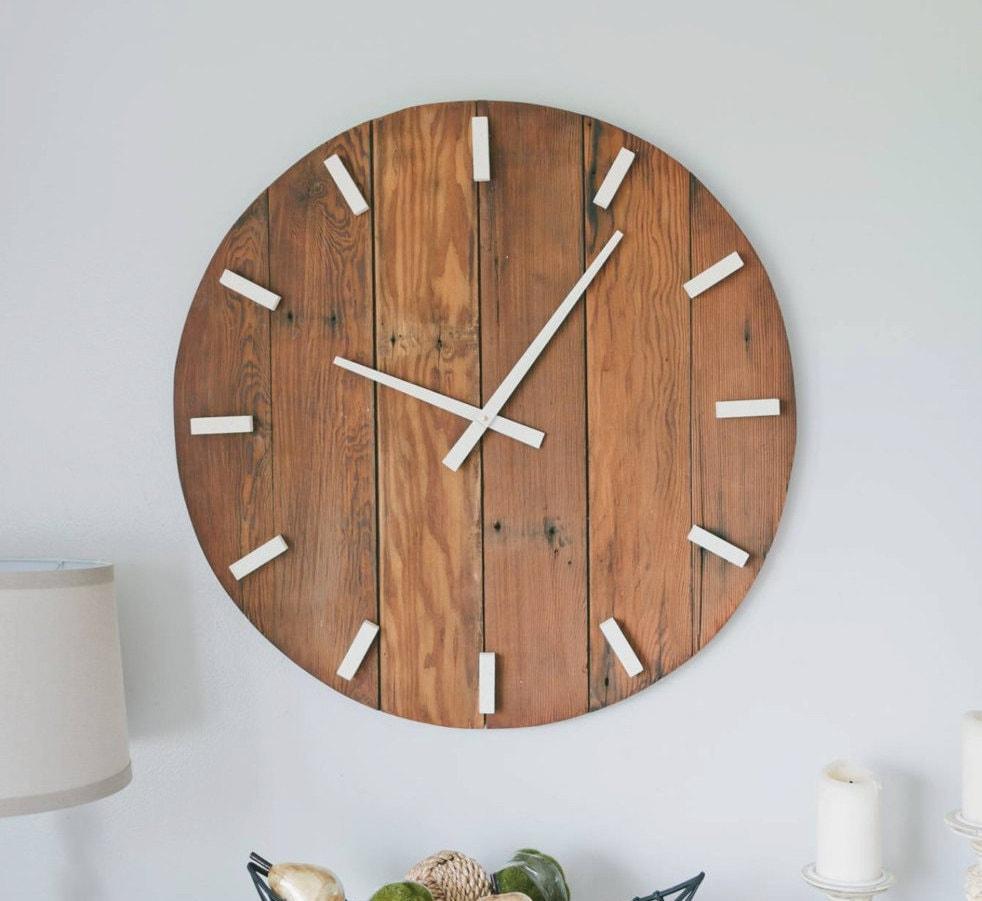 rustic wall clock oversized wall clock large wall clock 30. Black Bedroom Furniture Sets. Home Design Ideas