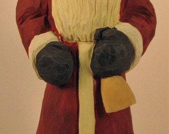 Santa Wood Carving Art Sculpture Home decor Figurine Collectible
