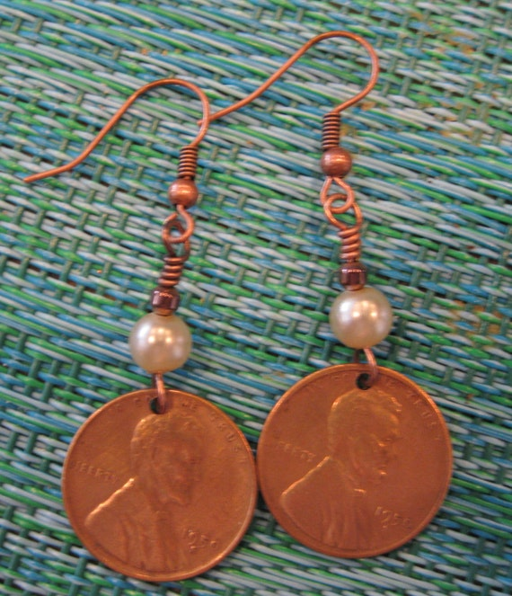 Vintage 1950-S Penny Coin Earrings