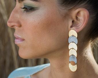 Long african earrings, golden dangle earrings, ethnic moon earrings, sterling silver minimalist earrings, african jewelry