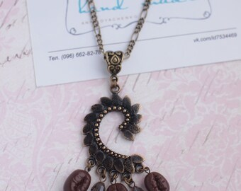 Vintage Coffee Lovers Necklace with birdie