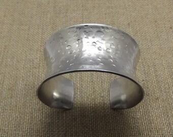 """Anticlastic  Hammered Aluminum Cuff Bracelet- 1 1/2"""" Wide"""