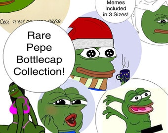 Rare Pepe Frog Meme Bottlecap Circles | 12mm 25mm 38mm | 15 Pepes Included | Ultra-Rare Memes | Feels Good Man | 1/2 Inch 1 inch 1.5 Inch