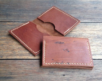 Leather Card Holder - hand cut, hand stitched, handmade